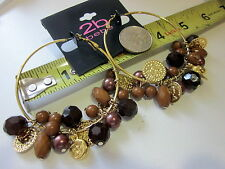 "2b bebe Earrings Fashion Costume Jewelry 2"" Goldentone Beads multicolor NEW"