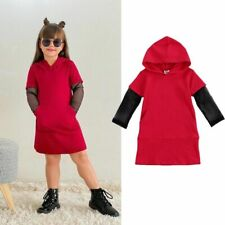 Girls Dress Hooded Patchwork Long Sleeve Knee Length Autumn Outfits 3-7T