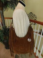 Michael Kors Rhea Brown Suede Fringe Hobo Slouchy Shoulder Bag NWT