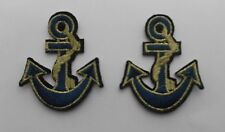 Navy/Gold Anchors Iron/Sew on Patches x 2