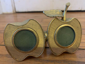 *VINTAGE* 1960s Ted Arnold Ltd Gold-Tone Brass Double Apple Picture Frame
