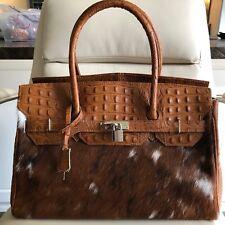 Stunning Birkin Style Genuine Pony Hair & Crocodile Embossed Cowhide Leather Bag