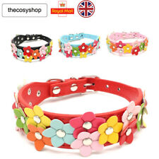 New Beautiful Flowers Cat Dog Puppy Collar 8 Colours Available PU Leather