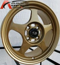15X6.5 +40 SLIPSTREAM 4X100 GOLD RIM Fits Toyota Yaris Mr2 Celica Corolla Tercel
