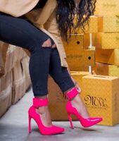 """Mona Mia 5"""" High Heels Wide Ankle Cuff Scallop Cut Pump Shoe 6 -11 Fuchsia"""