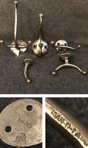 Antique SAN-O-LA Art Deco Nickel Plated Brass Coat Robe Towel Hooks (Lot Of 5)
