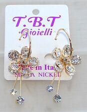 TOP FASHION Orecchini con cristalli da Donna,cerchio oro Fiore trasparente