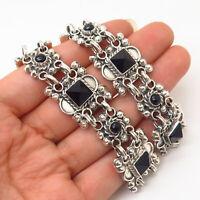 "925 Sterling Silver Vintage Mexico Black Obsidian Tribal Design Necklace 17"""