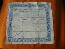 certificat action 500fr BANQUE NATIONALE FRANCAISE DU COMMERCE EXTERIEUR 1922