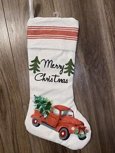 Christmas Stocking Red Truck Country Farmhouse Burlap Ticking Stripe Embroidered