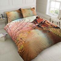 Toscana 100% Cotton Duvet Cover Pillowcase Set Scenic Print Single Double King