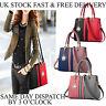 Womens PU Leather Ladies Shoulder Bags 2 Tone Handbag Tote Purse Bag UK Vincenza