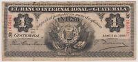 Guatemala 1 Peso 1920 PS153a VF Banco Internacional Rare Currency Note