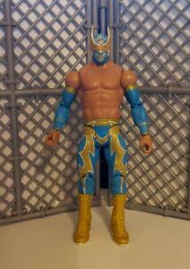 WWE SIN CARA WRESTLING FIGURE MATTEL BASIC SERIES 18 AZUL BLUE & GOLD