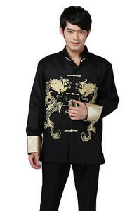 Traditional Chinese Mens Clothing Embroider Dragon Kung Fu Suit Jacket top Gift