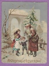 0617L VTG VICTORIAN CHRISTMAS CARD OLD WORLD SANTA BROWN ROBE KIDS W. HANGELBERG