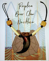 REPLICA GRIZZLY BEAR CLAW NECKLACE - REAL BONE AND WOODEN BEADS HEMP CORD NEW