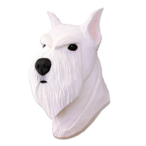 Schnauzer Head Plaque Figurine White