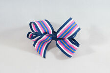 Unit of 10 Medium 3 Inch NavyBlue/White/Pink Stripe Hair Bow Clip Grosgrain