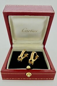 Authentic Vintage Cartier Sapphire Stirrup Cufflinks 18k Yellow Gold with Case