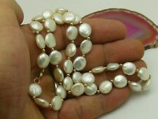 "14k Yellow Gold Bead & Freshwater Coin Pearl NECKLACE 18"" 10mm EXTRA NICE LUSTER"