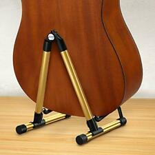 More details for guitar stand for acoustic electric bass folding travel guitar stand (golden)