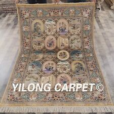YILONG 5'x7.2' Handknotted Silk Pictorial Scene Carpet Antistatic Rug P003A