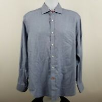 TD Thomas Dean Men's Blue Geometric L/S Casual Dress Button Shirt Sz Large L