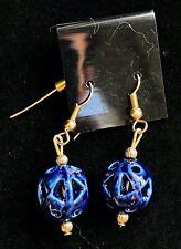 "Beautiful NWT Gold Tone Blue Ceramic Dangle Pierced Earrings 2"" F06"