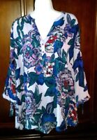 Maurices Top  2 XL Flowy Wearable Art boho hippie peasant Shirt Blouse XXL