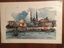 Cavallo Stefano - Assuan vista dal Nilo, acquerello e t.m. su carta 1980