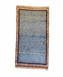 128 X 74 cm Beautiful hand-knotted Gabbehh blue rug