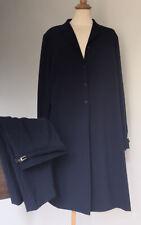 PLATINUM Ladies 2 Piece Suit Navy Blue Pinstripe Trousers + Long Jacket Size 16