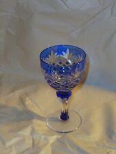 "Bohemia Crystal Cut To Clear Cobalt Blue Cordial Glass 4 3/4"""