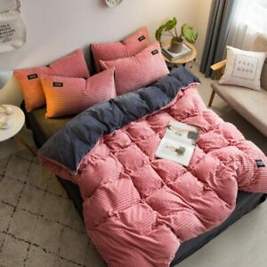 Winter Velvet Fleece Bedding 4pcs/Set Stripe Duvet Cover Sheet Pillowcase ABside