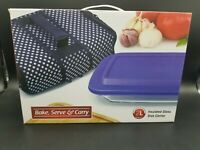 Bake, Serve & Carry Insulated Rectangle Glass Baking Dish and Carrier 2-Liter