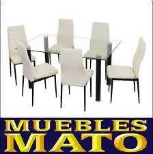 set conjunto mesa cristal y sillas polipiel blancas emi cocina comedor salon