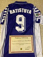 MAGLIA BATISTUTA AUTOGRAFATA FIORENTINA CAMPIONATO LEGA CALCIO 1999 / 2000 + COA