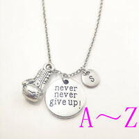 boxing never give up silver Initial Letter Necklace stamped monogram pendants