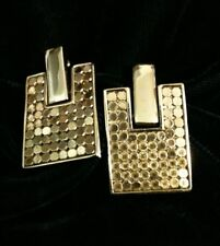 Vintage Whiting and Davis Metal Mesh Earrings Pierced Gold Tone