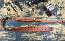 Buckle Guitar Strap Double hole Real Leather Handmade USA Rock Goth Tan Oiled