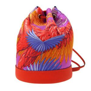 Hermes Sac Soie-Cool Pequeño Soie Minibolsa Rojo Veau Swift Seda Auténtico 03071