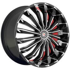 4-NEW Scarlet SW-5 Davis 24x9.5 5x115/5x120 +13mm Black/Machined/Red Wheels Rims