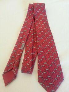 Krawatte Seide  HERMÈS , Paris  987 SA  Rot Grau Delphin