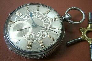 A SILVER CASED POCKET WATCH, WITH SILVER DIAL c.1876