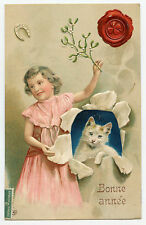 CHAT. FILLETTE. FER A CHEVAL. TRèFLE. GAUFRé. CAT. LITTLE GIRL. CLOVER  EMBOSSED