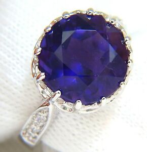 5.20CT NATURAL BRILLIANT ROUND DEEP PURPLE AMETHYST DIAMOND RING 14KT +