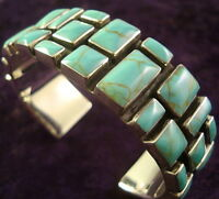 TAXCO MEXICAN STERLING SILVER TURQUOISE CUFF BRACELET MEXICO