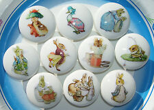 10 PETER RABBIT BENJAMIN BUNNY ETC.  KIDS DRESSER KNOBS  MADE AS ORDERED