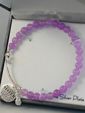 Gratitude & Grace Silver Plate Sister Charm Purple Agate Beaded Cuff Bracelet